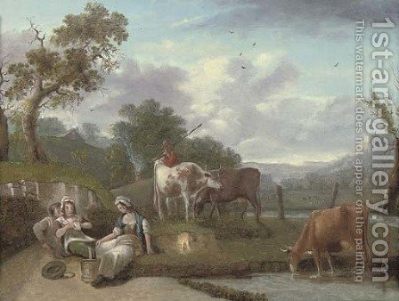 A wooded river landscape with cattle and figures in the foreground, cottages beyond by (after) Philip Jacques De Loutherbourg - Reproduction Oil Painting