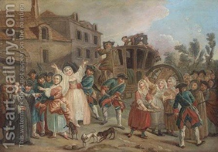 Soldiers settling a village disturbance by (after) Mercier, Philippe - Reproduction Oil Painting