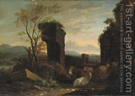 An Italianate landscape with cattle among ancient ruins, a river and a waterfall beyond by (after) Philipp Peter Roos - Reproduction Oil Painting