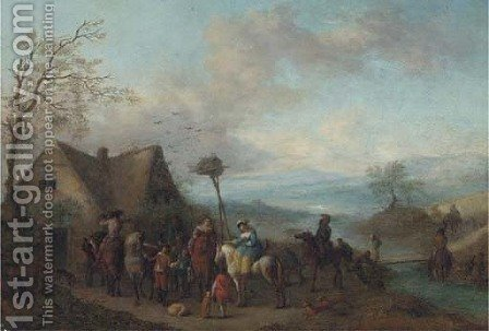 A hawking party by (after) Philips Wouwerman - Reproduction Oil Painting