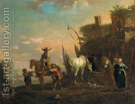 A landscape with travellers resting at an inn by (after) Philips Wouwerman - Reproduction Oil Painting
