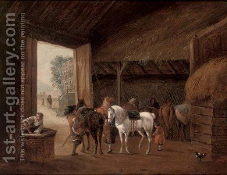 A stable interior with two figures mounting horses by (after) Philips Wouwerman - Reproduction Oil Painting