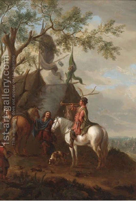 A trumpeter at a cavalry encampment by (after) Philips Wouwerman - Reproduction Oil Painting