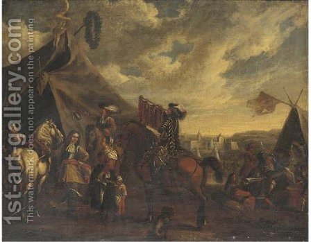 Cavalry officers with their chargers and a mounted trumpeter before a sutler's booth, an encampment beyond by (after) Philips Wouwerman - Reproduction Oil Painting