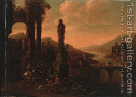 Elegant horsemen watering horses at a fountain before a ruin, a bridge with a drover and cattle beyond by (after) Philips Wouwerman - Reproduction Oil Painting
