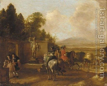 Horsemen and elegant figures before a statue by (after) Philips Wouwerman - Reproduction Oil Painting