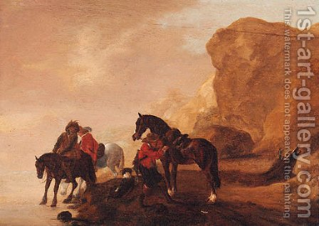 Horsemen crossing a river in a rocky landscape by (after) Philips Wouwerman - Reproduction Oil Painting