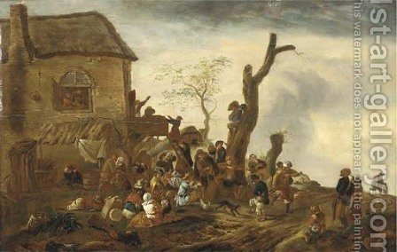 Peasants making merry by a cottage by (after) Philips Wouwerman - Reproduction Oil Painting