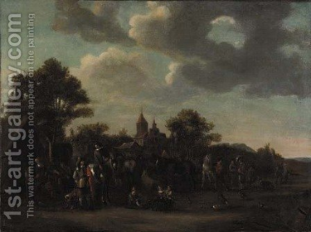 Travellers at a blacksmith's by (after) Philips Wouwerman - Reproduction Oil Painting
