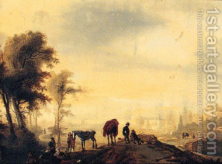 Figures resting on a Track, with a Town beyond by (after) Philips Wouwerman - Reproduction Oil Painting