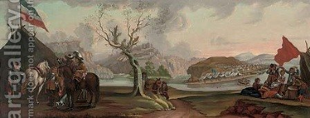 A military encampment stationed by a river, a hilltop fort beyond by (after) Philips Wouwerman - Reproduction Oil Painting