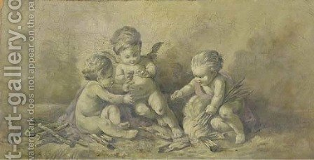 Three putti lighting a fire en grisaille by (after) Piat Joseph Sauvage - Reproduction Oil Painting