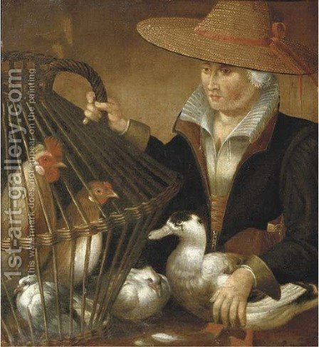 A woman holding a duck and a bird cage with chickens and a dove by (after) Pieter Aertsen - Reproduction Oil Painting