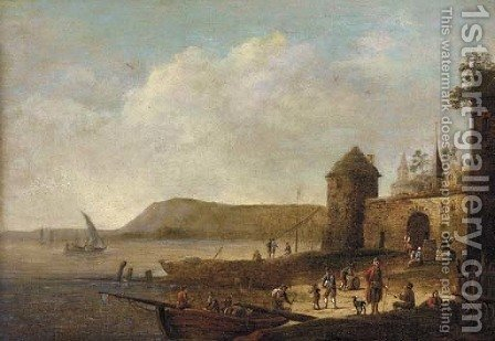 A coastal inlet with figures on the shore near a town by (after) Pieter Bout - Reproduction Oil Painting
