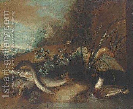 Dead fish by a pond with ducks in a wooded clearing by (after) Pieter Casteels III - Reproduction Oil Painting