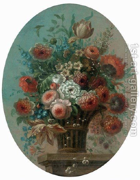 Roses, tulips, morning glory, narcissi and other flowers in a basket on a ledge by (after) Pieter Casteels III - Reproduction Oil Painting