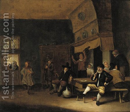Peasants merry-making in a barn by (after) Pieter De Bloot - Reproduction Oil Painting