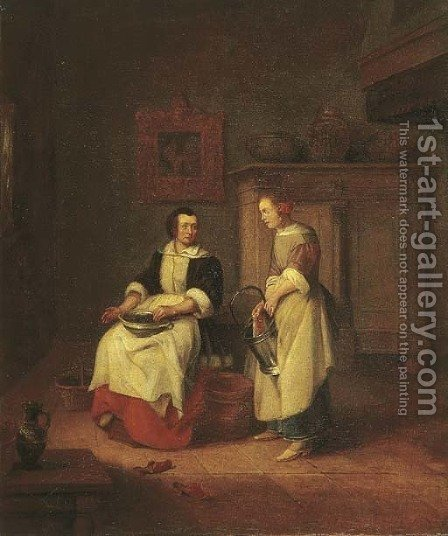 An interior with a woman and her maid by (after) Pieter De Hooch - Reproduction Oil Painting