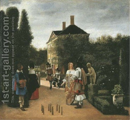 Elegant figures playing skittles in a landscaped park by (after) Pieter De Hooch - Reproduction Oil Painting