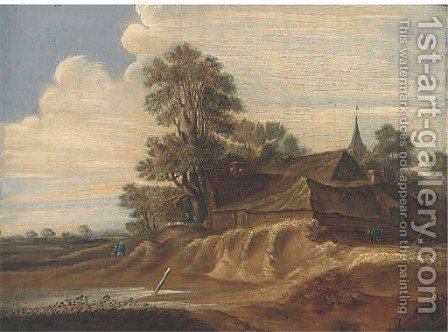 A landscape with a farm and farmhands; and A riverside town with fishermen in a boat and a windmill beyond by (after) Pieter Molijn - Reproduction Oil Painting