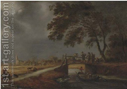 A stormy landscape with travellers on a bridge, a boat passing by and a woman with children on a path, a village beyond by (after) Pieter Molijn - Reproduction Oil Painting
