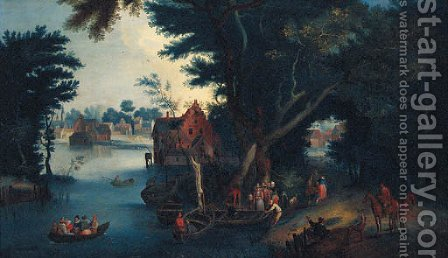 A wooded river landscape with figures boating by a village by (after) Pieter Gysels - Reproduction Oil Painting