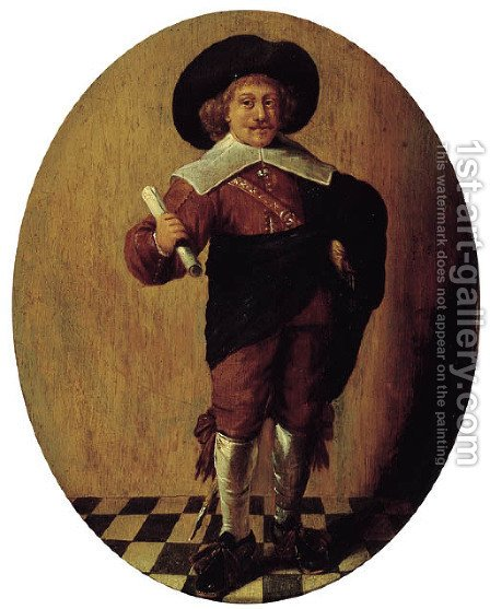 An officer, standing small full-length, holding a document in his right hand by (after) Pieter Codde - Reproduction Oil Painting