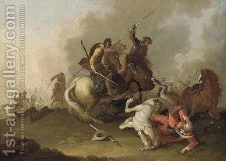 A cavalry skirmish by (after) Pieter Meulener - Reproduction Oil Painting
