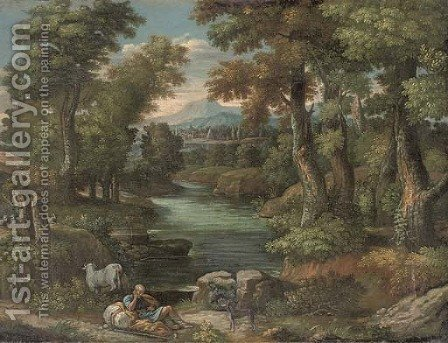 An extensive wooded river landscape with a shepherd resting on the riverbank by (after) Pieter Meulener - Reproduction Oil Painting