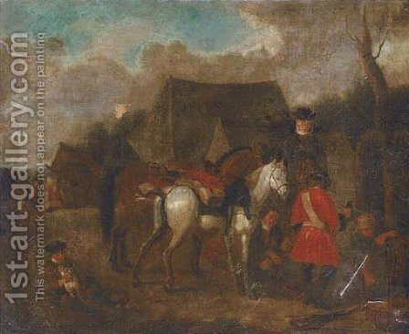 Soldiers at halt at a military encampment by (after) Pieter Van Bloemen - Reproduction Oil Painting