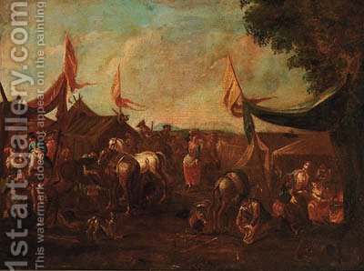 A cavalry encampment by (after) Pieter Van Bloemen - Reproduction Oil Painting