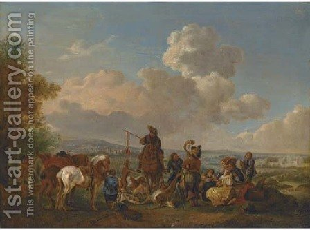 A hunting party with trophies of the chase by (after) Pieter Wouverman - Reproduction Oil Painting