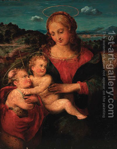 The Madonna and Child with the Infant Saint John the Baptist by (after) Raphael (Raffaello Sanzio of Urbino) - Reproduction Oil Painting