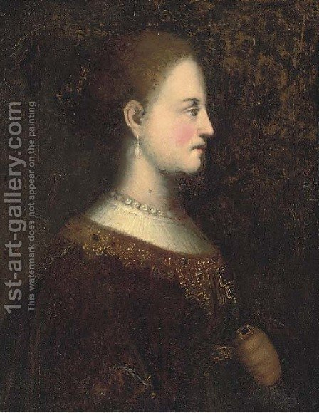 Portrait of a lady by (after) Rembrandt Van Rijn - Reproduction Oil Painting