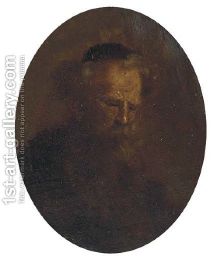 An old man, bust-length by (after) Rembrandt Van Rijn - Reproduction Oil Painting