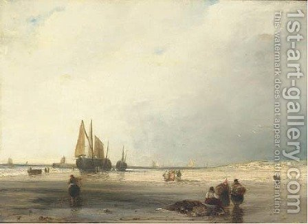 Fisherfolk on a beach at low tide by (after) Richard Parkes Bonington - Reproduction Oil Painting