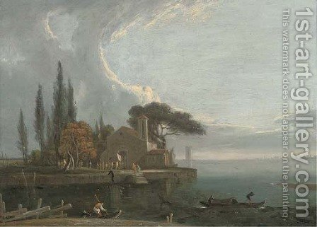 A procession to St Lazzare's Monastry, L'Anconetta, Venice by (after) Richard Wilson - Reproduction Oil Painting