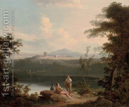 An Italianate wooded river landscape with anglers conversing on the bank with classical buildings beyond by (after) Richard Wilson - Reproduction Oil Painting