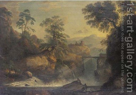 Figures at a mountain torrent in an Arcadian landscape by (after) Richard Wilson - Reproduction Oil Painting