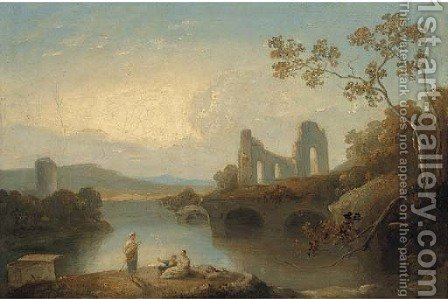 Figures in an Arcadian landscape 2 by (after) Richard Wilson - Reproduction Oil Painting