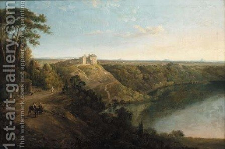 Lake Albano with the Castel Gandolfo beyond by (after) Richard Wilson - Reproduction Oil Painting