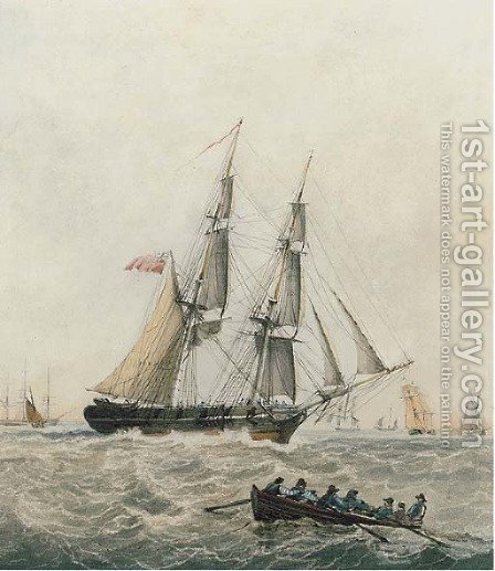 A brig running up the Channel by (after) Robert Cleveley - Reproduction Oil Painting