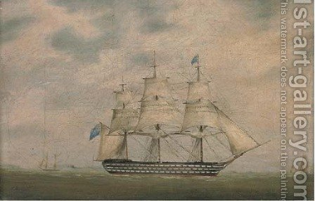 A Royal Naval three-decker in coastal waters; and A Royal Naval two-decker offshore by (after) Lieutenant Robert Strickland Thomas - Reproduction Oil Painting