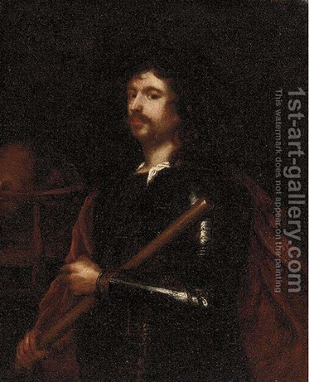 Portrait of a gentleman, small three-quarter-length, in armour and a red cloak by (after) Robert Walker - Reproduction Oil Painting