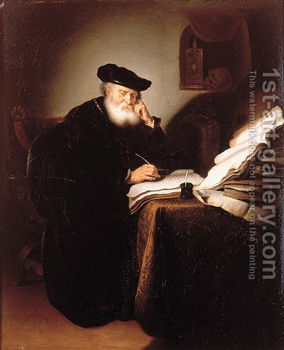 A scholar in his study by (after) Salomon Koninck - Reproduction Oil Painting