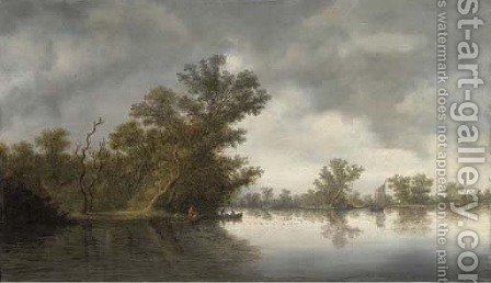 A wooded river landscape with fisherman in boats by (after) Salomon Van Ruysdael - Reproduction Oil Painting