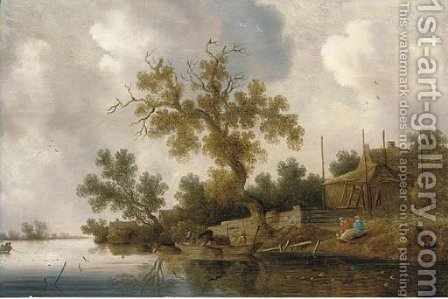 A wooded river landscape with fishermen and other figures by (after) Salomon Van Ruysdael - Reproduction Oil Painting