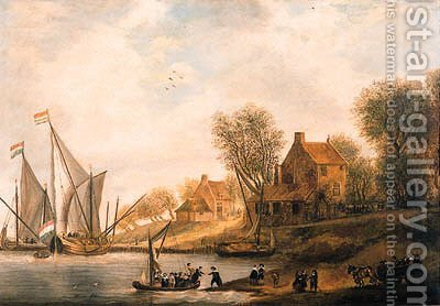 A wooded river landscape with townsfolk disembarking by (after) Salomon Van Ruysdael - Reproduction Oil Painting