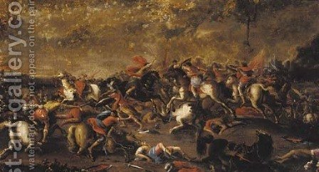 A cavalry engagement by (after) Rosa, Salvator - Reproduction Oil Painting