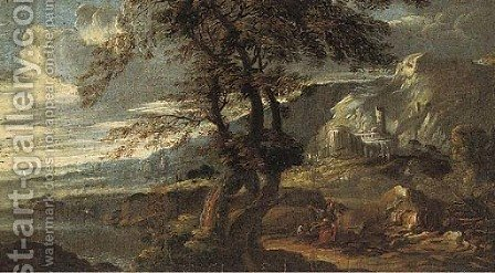 An extensive coastal landscape with classical ruins and figures at rest by (after) Rosa, Salvator - Reproduction Oil Painting